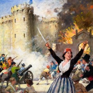 Other People's Countries: Women Who Fought for France, including Joan of Arc, Charlotte Corday and Madame du Barry. Here we see women helping to storm the Bastille prison in 1789. Original artwork from Look and Learn no. 93 (26 October 1963). Kindly lent for scanning by Mick Harvey.