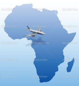 airplane over blue Africa map